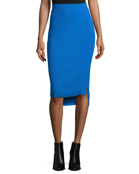 DKNY Ribbed High-Waist Pencil Skirt, Cerulean