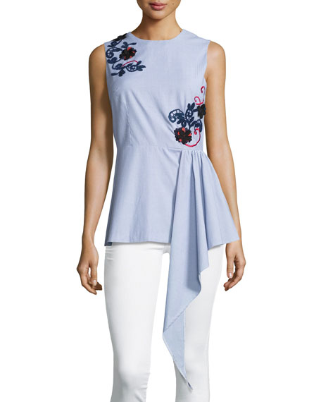Sleeveless Embroidered Striped Shirting Top, Blue