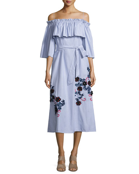 Suno Striped Shirting Midi Dress, Blue