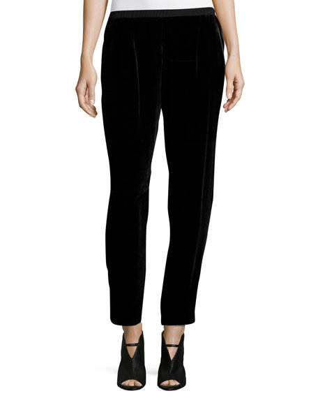 Eileen Fisher Velvet Slouchy Ankle Pants, Black