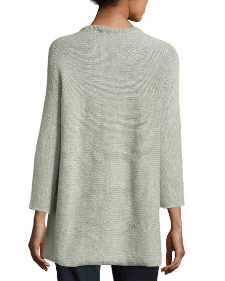 3/4-Sleeve Wool-Blend Easy Sweater, Dark Pearl