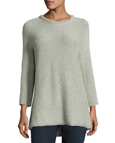 3/4-Sleeve Wool-Blend Easy Sweater, Dark Pearl