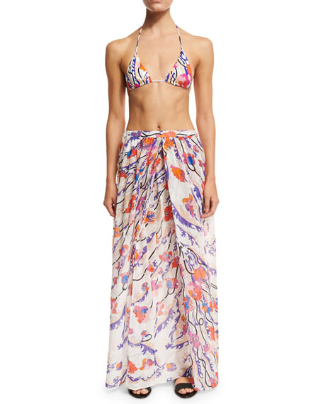 Ranuncoli Cotton Voile Maxi Coverup Skirt, White/Pink