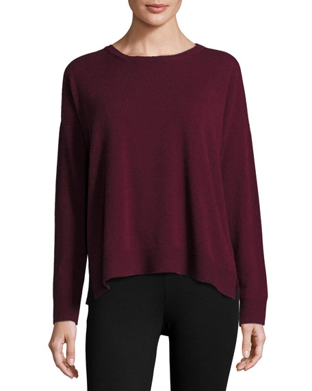 Fine-Gauge Cashmere Crewneck Sweater, Raisonette