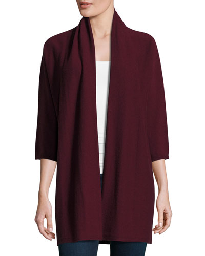 Fine-Gauge Cashmere 3/4-Sleeve Cardigan, Raisonette