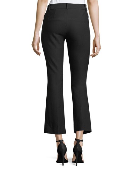 Stretch-Cotton Cropped Flare Trousers
