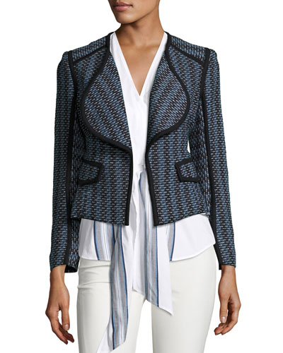 Striped Open-Front Cardigan Jacket, Denim