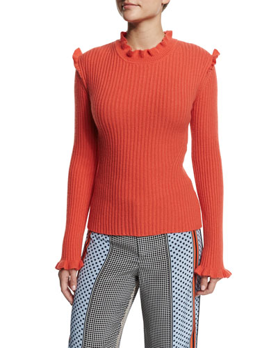 Ribbed Cashmere Ruffle-Trim Sweater, Bright Coral