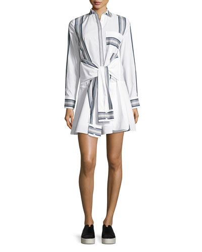 Long-Sleeve Poplin Tie-Waist Shirtdress, Soft White