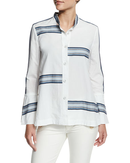 Derek Lam 10 Crosby Bell-Sleeve Poplin Striped-Trim Blouse,