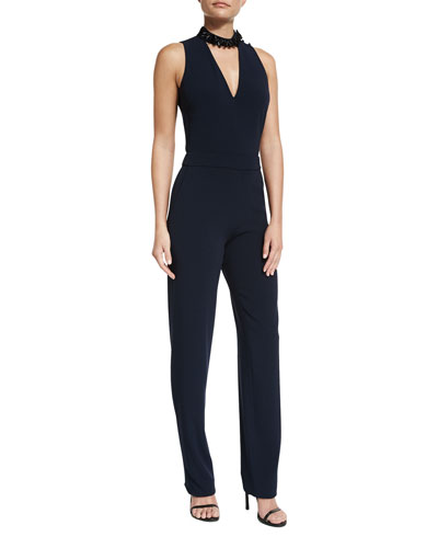 Sleeveless Crepe Cutout Jumpsuit, Midnight