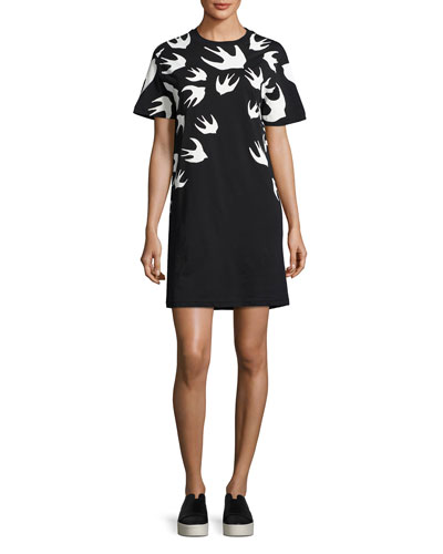 Short-Sleeve Jersey Swallow-Print T-Shirt Dress, Black