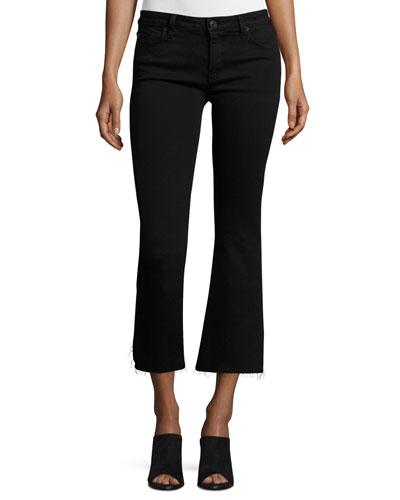 Mia Mid-Rise Cropped Flare-Leg Jeans, Black