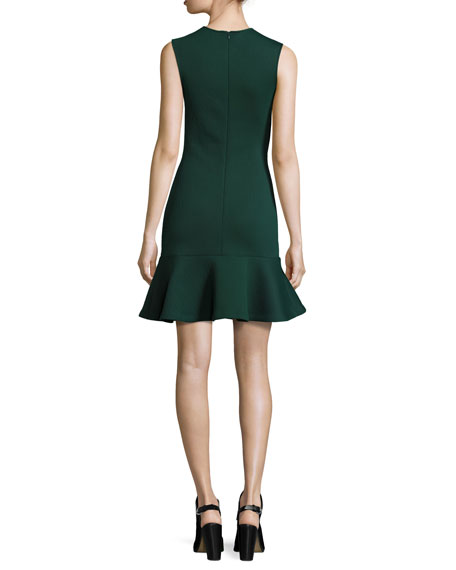 Sleeveless Ponte Flounce Dress, Evergreen