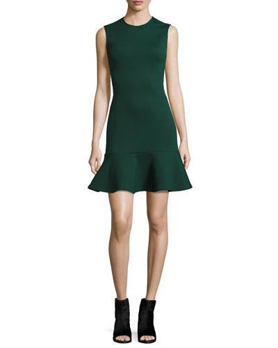 Sleeveless Ponte Flounce Dress, Evergreen
