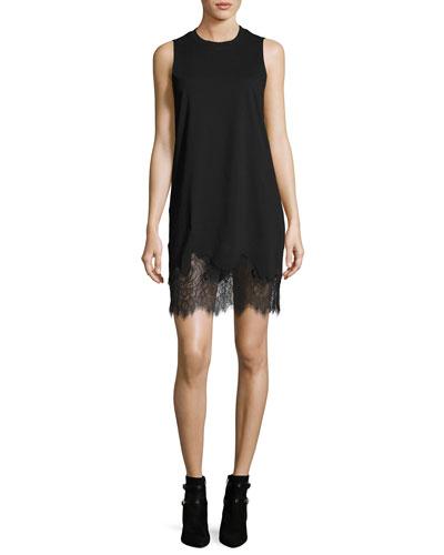Lace-Trim Tank Mini Dress, Black