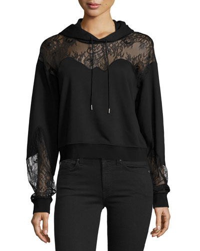 Hooded Lace-Trim Sweatshirt, Black