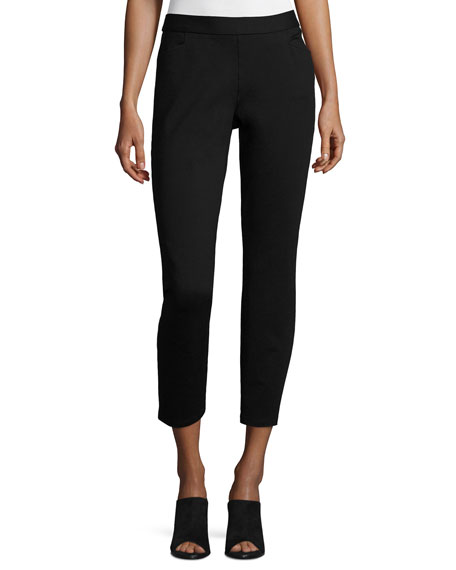 Eileen Fisher Slim Stretch-Knit Ankle-Zip Pants, Black, Petite