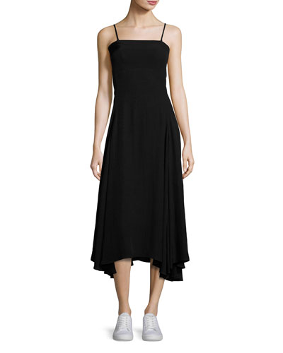 Flared Fluid Open-Back Midi Dress, Black