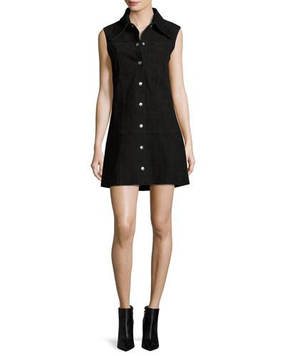 Marianne Sleeveless Suede Mini Dress, Black
