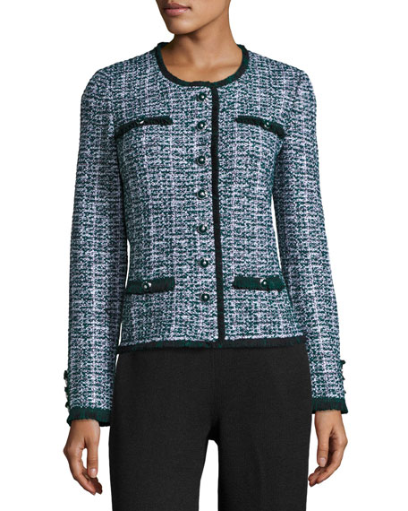 St. John Collection Fazier Tweed Knit Jacket, Green