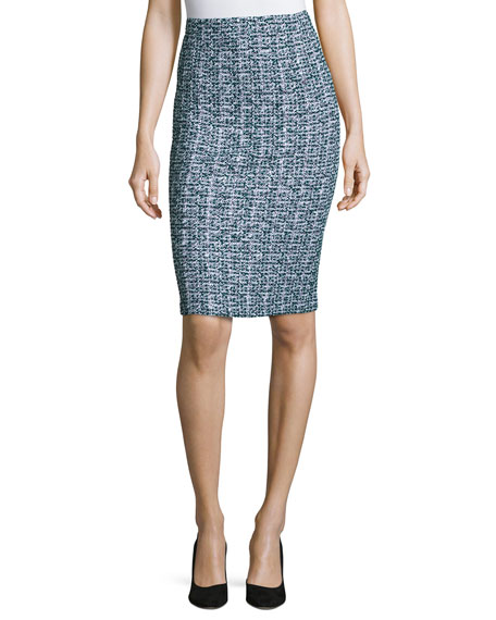 St. John Collection Tweed Pull-On Pencil Skirt, Green