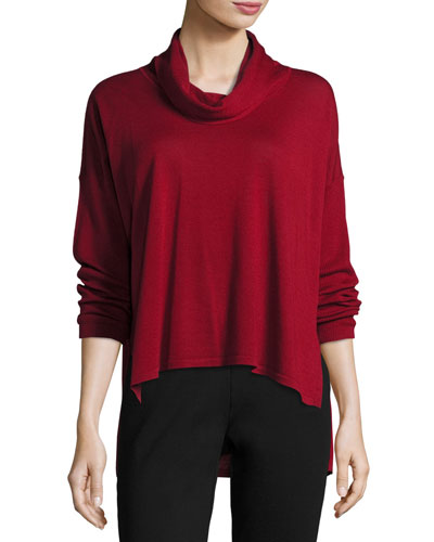 Cowl-Neck Box Top, Dark Pearl
