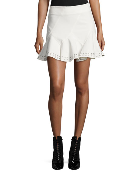 Derek Lam 10 Crosby Stretch Twill Eyelet Skirt,