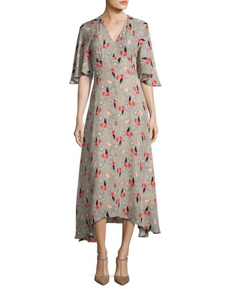 Short-Sleeve Printed Silk Midi Dress, Pumice