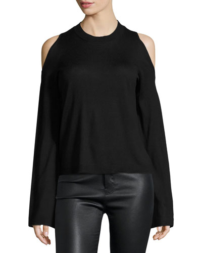 Bell-Sleeve Cold-Shoulder Silk-Cashmere Sweater, Black