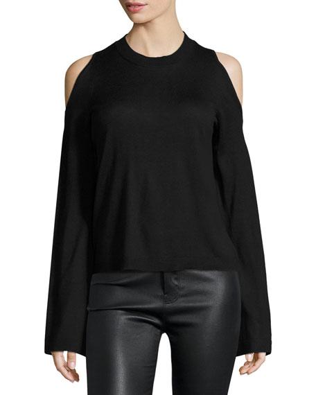 Bell-Sleeve Cold-Shoulder Silk-Cashmere Sweater, Black Buy