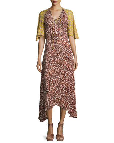 Derek Lam 10 Crosby Silk Animal-Print Midi Dress,