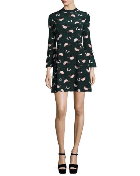 Bell-Sleeve Floral A-Line Dress, Black/Green/Multicolor