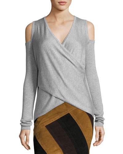 Melange Cold-Shoulder Surplice Sweater, Gray