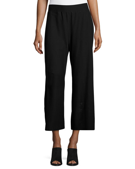 Eileen Fisher Washable Crepe Wide-Leg Pants, Black, Plus