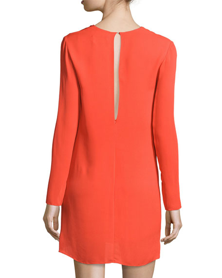 Long-Sleeve Knotted Sheath Dress, Poppy