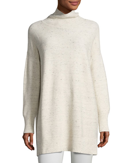 Eileen Fisher Peppered Cotton-Wool Turtleneck
