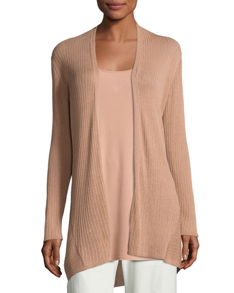 Eileen Fisher Ribbed Silk-Blend Cardigan, Toffee Cream, Plus