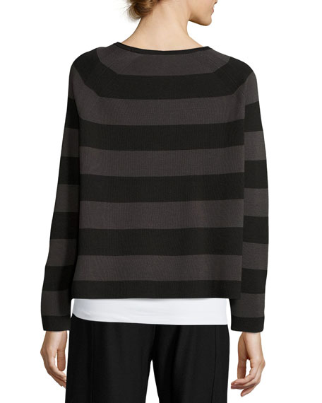Striped Cropped Long-Sleeve Top