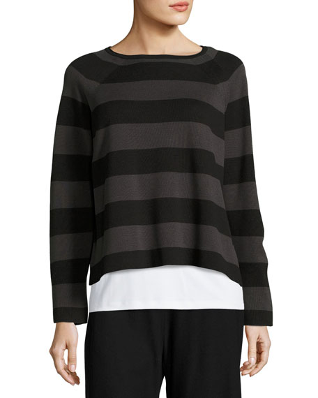 Eileen Fisher Striped Cropped Long-Sleeve Top, Black/Charcoal,