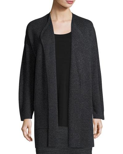 Sleek Blur Long Cardigan, Charcoal