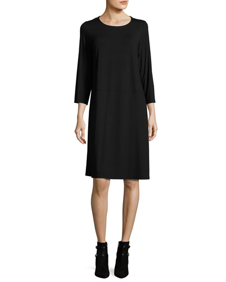 Jersey 3/4-Sleeve Jewel-Neck Dress, Black, Plus Size