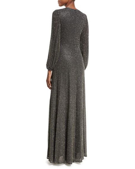 Bell-Sleeve Beaded Gown