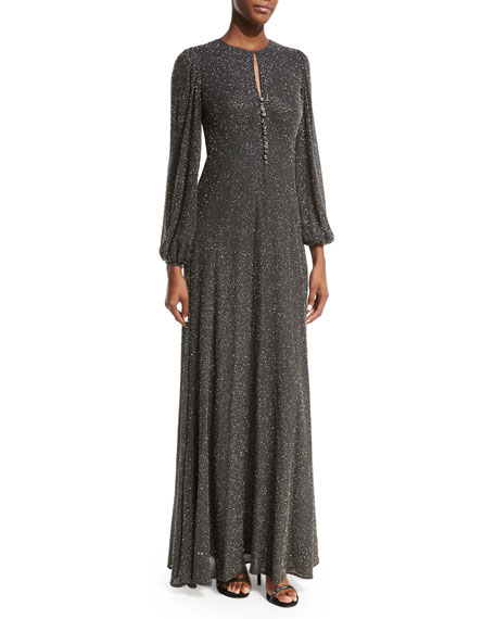 Michael Kors Bell-Sleeve Beaded Gown