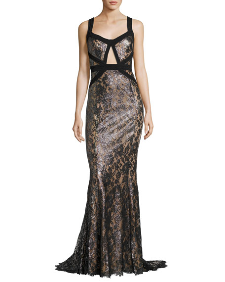 Michael Kors Metallic Lacquered Lace Gown