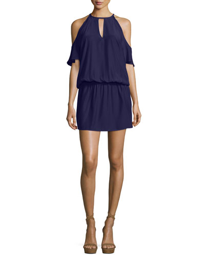 Cecilia Cold-Shoulder Silk Blouson Dress, Navy