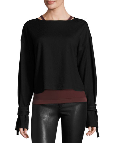 Sonar Boxy Wool Tie-Cuff Pullover Sweater, Black