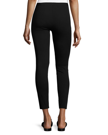 Ponte Zip-Cuff Reflex Leggings, Black