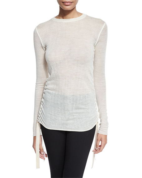 Helmut Lang Fine Wool Ruched Jersey Top, Creme
