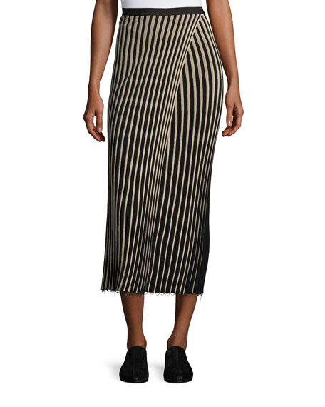 Helmut Lang Ribbed Striped Midi Skirt, Black